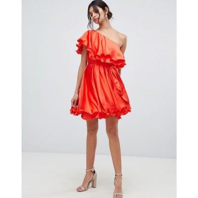 フォーエバーユニーク Forever Unique レディース ワンピース ワンピース・ドレス ruffle one shoulder mini dress Red