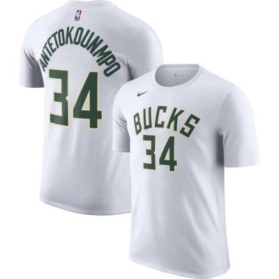 ナイキ Nike メンズ Tシャツ ドライフィット トップス Milwaukee Bucks Giannis Antetokounmpo #34 Dri-FIT White T-Shirt