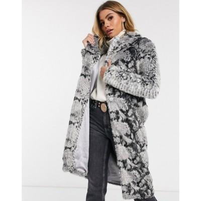 ラビッシュアリス レディース コート アウター Lavish Alice oversized collar faux fur coat in snake print