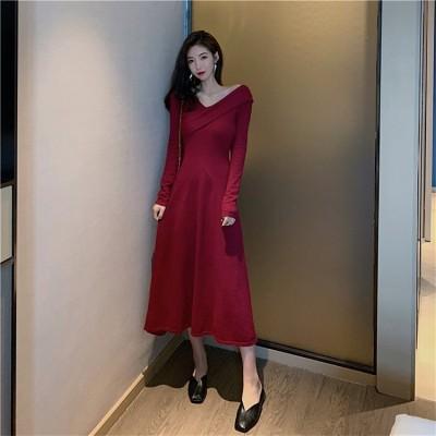 [55555SHOP]OL 正式な場合 礼装 Vネック ドレス 小さい新鮮なの気質は/長袖スリム/ニットワンピース