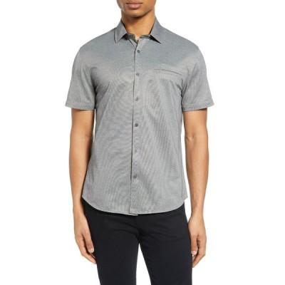 ヴィンスカムート メンズ シャツ トップス Slim Fit Short Sleeve Piqu Button-Up Shirt GREY SOLID