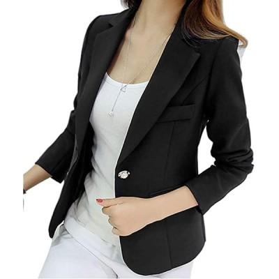 テーラード ジャケット レディース 1つボタン 長袖 シンプル パール装飾ボタン(ブラック(パール装飾ボタン), L)