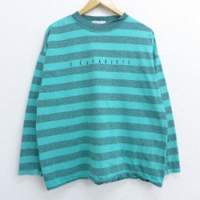 古着 レディース 長袖 ビンテージ Tシャツ 90年代 90s Z CAVARICCI ハイネック モックネック USA製 青緑他 ボーダー 中古 Tシャツ 古着