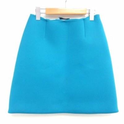 【中古】プラダ PRADA ひざ丈 台形 スカート ボンディング ブルー 青 38 0915 レディース