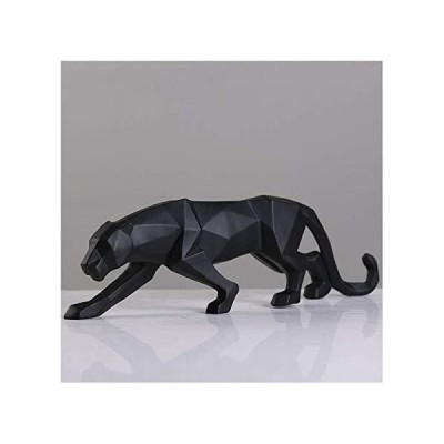 MAHONGQING Sculpture Statues Sculpture Decoration Black and White Leopard Statue Resin Animal Home Ornaments Statues (Color : Black)【海