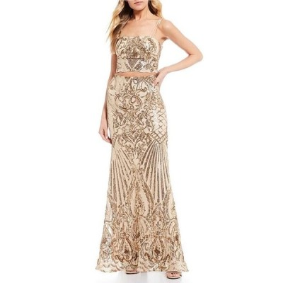 ビーダーリン レディース ワンピース トップス Spaghetti Strap Sequin Top with Sequin Trumpet Skirt Two-Piece Long Dress