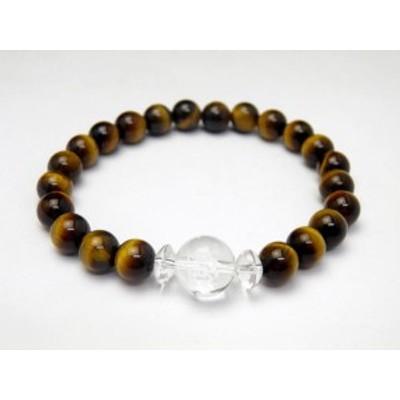 健康運ブレスレット 水晶(健康祈願彫り)&タイガーアイブレスレット 天然石 パワーストーン