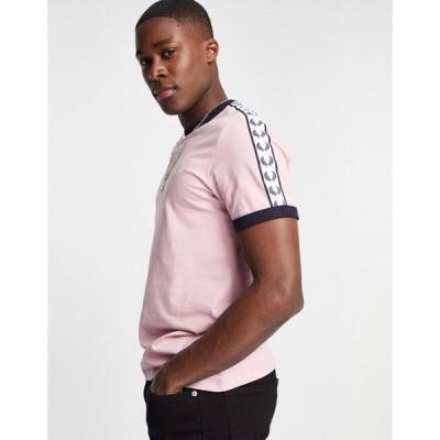 フレッドペリー Fred Perry メンズ Tシャツ トップス taped ringer t-shirt in lt. pink ライトピンク