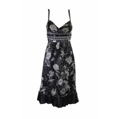 Laundry by Shelli Segal ランドリーバイシェルシーガル ファッション ドレス Laundry By Shelli Segal Black Circle Bead-Trm Floral-Pr