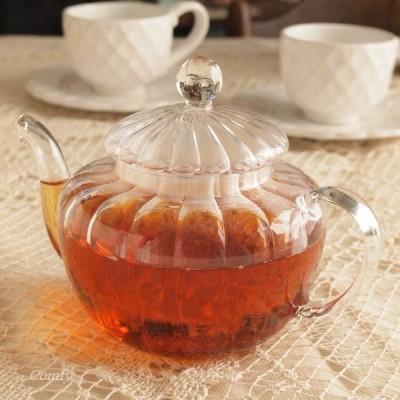 ガラス食器 ダルトン ティーポット パンプキン 耐熱ガラス 茶こし付き