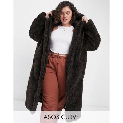 エイソス ASOS Curve レディース コート フード アウター ASOS DESIGN Curve borg hooded oversized parka in dark brown ダークチョコレート