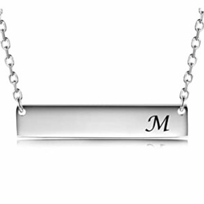 JZCOLOR | Sterling Silver Bar Necklace | Pendant with Engraved Letter (M)