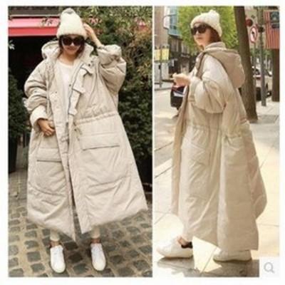 中綿コート レディース ロング丈 オーバーコート ボリューム フード付き ゆったり 大きいサイズ ドローストリング 厚手 無地 おしゃれ