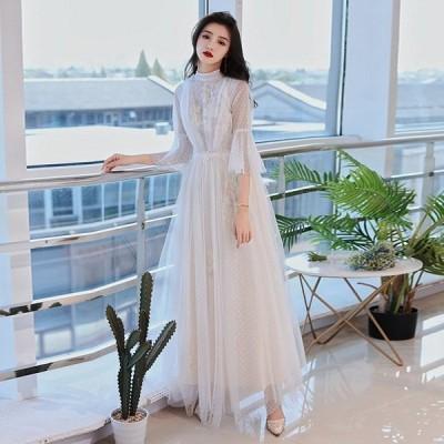 パーティードレス ワンピース ウェディングドレス 結婚式 成人式 パーティー パフスリーブ 可愛いレース 花嫁ロングドレス お呼ばれ 二次会 演奏会