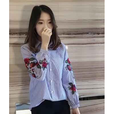 ストライプ柄 ブラウス 花柄刺繍 ゆったりブラウス 白シャツ パフスリーブブラウス 長袖 トップス レディース 韓国 オルチャン ファッシ