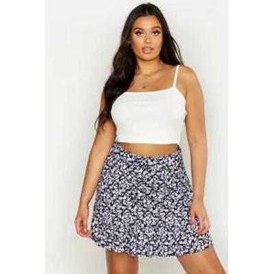 Boohoo レディーススカート Boohoo Plus Ditsy Floral Tiered Mini Skirt black
