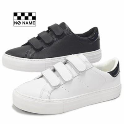 NO NAME ノーネーム ベルクロ スニーカー 厚底 ARCADE-02250 アルカデ レザー スニーカー 黒 ブラック ホワイト 白 美脚 レディース 靴 2