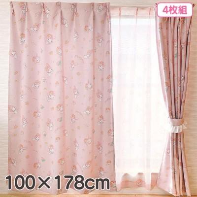 マイメロディ カーテン4枚組セット 100×178cm