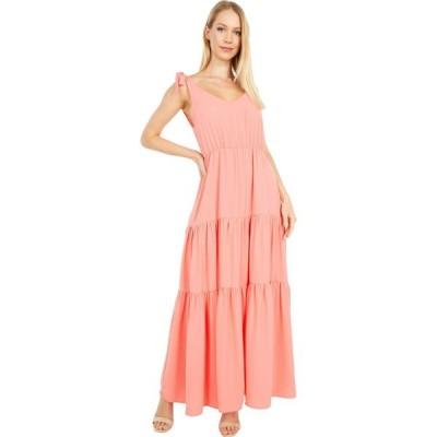 アメリカンローズ American Rose レディース ワンピース マキシ丈 ワンピース・ドレス Sonia Ruffle Maxi Dress with Shoulder Ties Coral