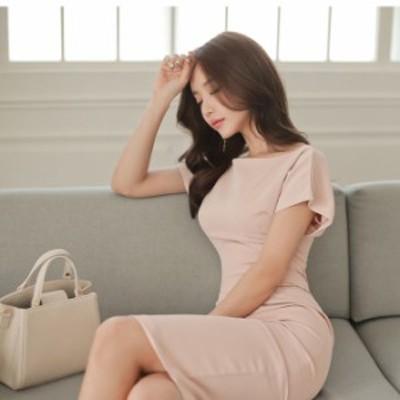 ワンピース 半袖 きれいめ スリム タイト 淡い ピンク シンプル シルエット