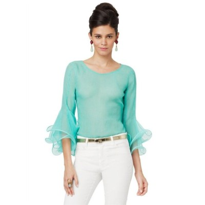 トップス オスカーデラレンタ Oscar de la Renta Pin Tucked Flounced Sleeve Blouse Capri Green Top S