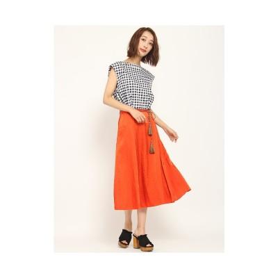 Lily Brown ベルト付きサテンスカート オレンジ