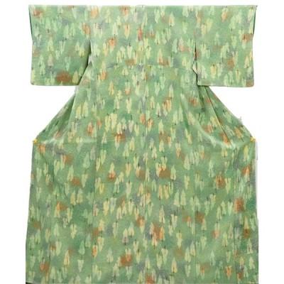 リサイクル着物 小紋 正絹グリーン地袷小紋着物