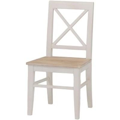 ダイニングチェア/リビングチェア 木製 座面:桐材 アンティーク調 ホワイト(白)  〔送料無料〕