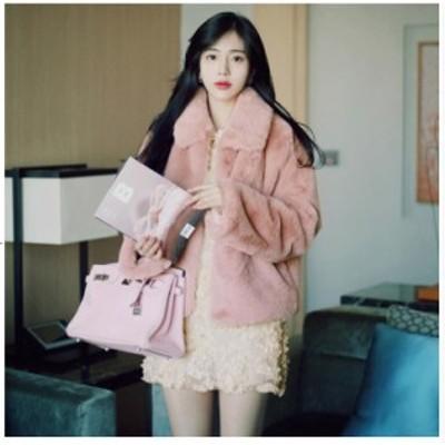 ピンク フェイクファーコート ショート丈コート チェスターコート 大きいサイズ 通勤 厚手お洒落 暖かい レオパードアウター 秋冬