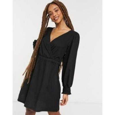 ニュールック レディース ワンピース トップス New Look shirred cuff crinkle mini dress in black Black
