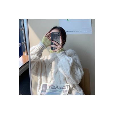 【送料無料】アーリー 秋 トップス オーバーサイズ 風 丸襟 手厚い セーターの女性 荷重 | 346770_A63582-3561054