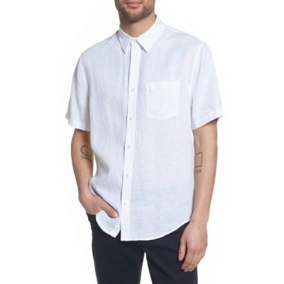 ヴィンス メンズ シャツ トップス Washed Slim Fit Short Sleeve Shirt OPTIC WHITE