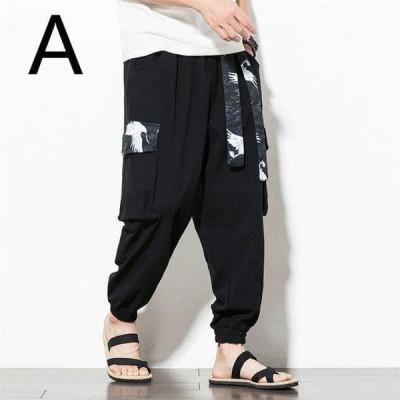 メンズ 鶴 メンズパンツ ジョガーパンツ 和柄 ストリートスタイル ボトムス 波 鶴柄 和風 大きいサイズ 裾ゴム?