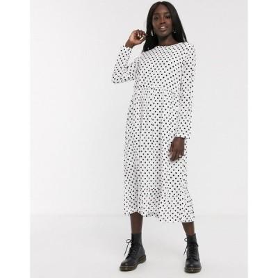デイジーストリート レディース ワンピース トップス Daisy Street midaxi smock dress in polka dot  White black spot