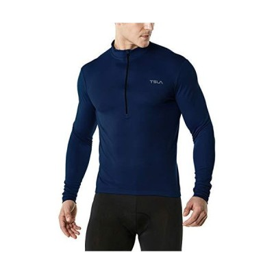 TSLA Mens Long Sleeve Bike サイクリング ジャージ, Quick Dry Breathable Reflective