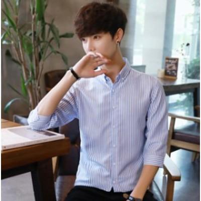 メンズ 7分袖 縞模様シャツ ストライプ 男子 トップス 落ち着く スタイリッシュ 韓国ファッション プリンス ダンディ カジュアル かっこ