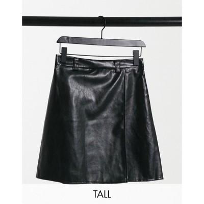 ナーナー NaaNaa Tall レディース スカート high waisted faux leather skirt in black ブラック