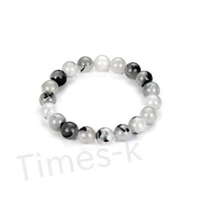 Natural Black Rutilated Quartz Gemstone Bracelet 8 Inch Stretchy Bracelet Chakra Gems Stones Healing Crystal Birthday Gift GB10-C57