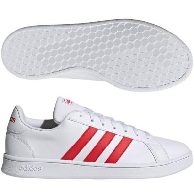 アディダス メンズファッション 紳士靴 GRANDCOURT BASE フットウェアホワイト×ビビッドレッド×フットウェアホワイト adidas FY8567