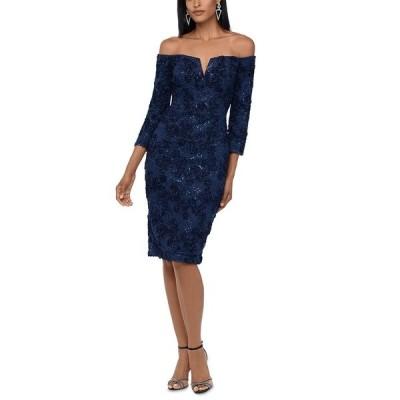 エスケープ ワンピース トップス レディース Off-The-Shoulder Lace Bodycon Dress Navy Blue