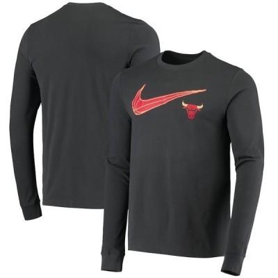 ナイキ メンズ Tシャツ トップス Chicago Bulls Nike 2020/21 City Edition Swoosh Performance Long Sleeve T-Shirt Anthracite