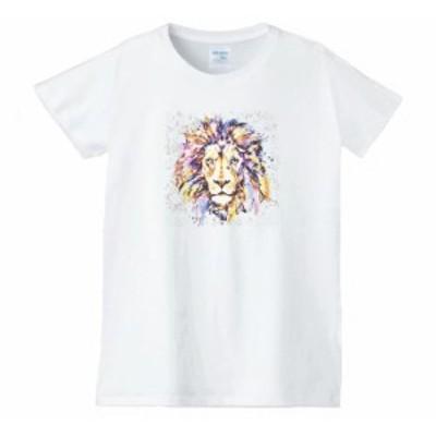 ライオン レディース 動物 生き物 Tシャツ 白