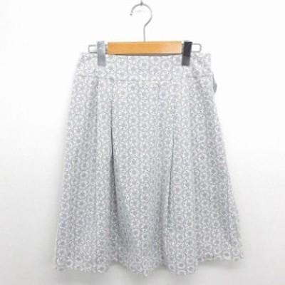 【中古】ローラアシュレイ スカート フレア 膝下丈 刺繍 総柄 薄手 綿 サイドジップ 7 グレー ホワイト 灰 白