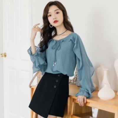 シャツ ブラウス トップス 韓国風 シンプル 通勤 ラウンドネック 長袖 スカタップスリーブ ゆったり ブルー 青い S M L LL 3L blouse