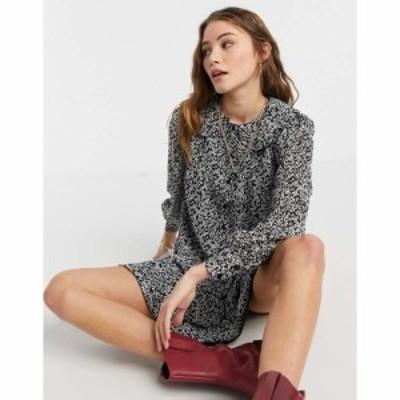 インフルエンス Influence レディース ワンピース ワンピース・ドレス peter pan collar mini dress in ditsy floral print ブラック/ホ