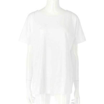 CHILLE 綿スラブ裾ラウンドTシャツ(ホワイト)