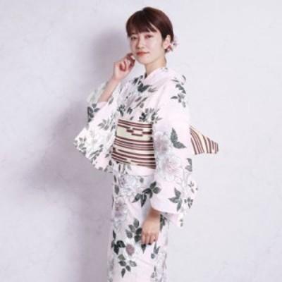 浴衣 セット レディース 浴衣 3点セット(浴衣/帯/下駄)日本製生地 国内染色 和歌山染工 ピンク 白 ホワイト 緑 くすみパステル