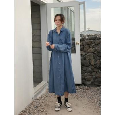 デニムロングシャツ ワンピース 柔らかく落ち感のあるデニム素材を使用した春夏に最適