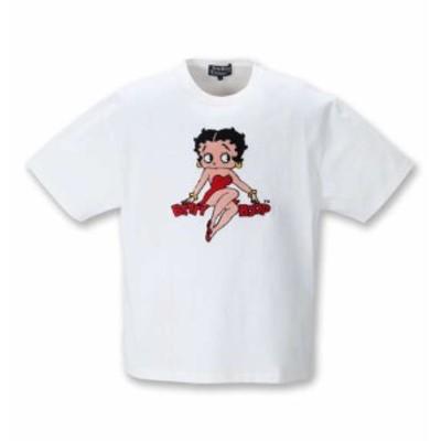 大きいサイズ メンズ BETTY BOOP サガラ刺繍 半袖 Tシャツ オフホワイト 1278-1281-1 3L 4L 5L 6L 8L