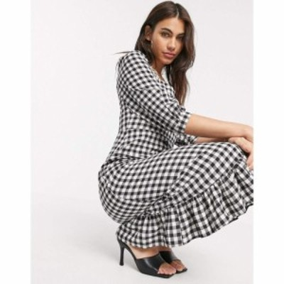 ウェアハウス Warehouse レディース ワンピース ワンピース・ドレス Gingham Square Neck Peplum Dress In Black ブラック/ホワイト
